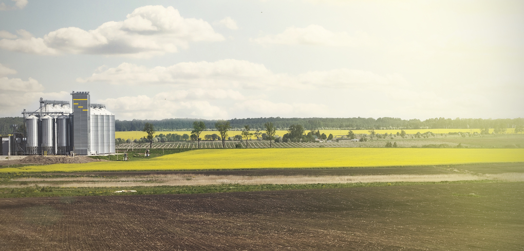 Field and skyline with distant view of oilseed processing facility
